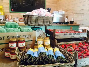 Shop counter asparagus