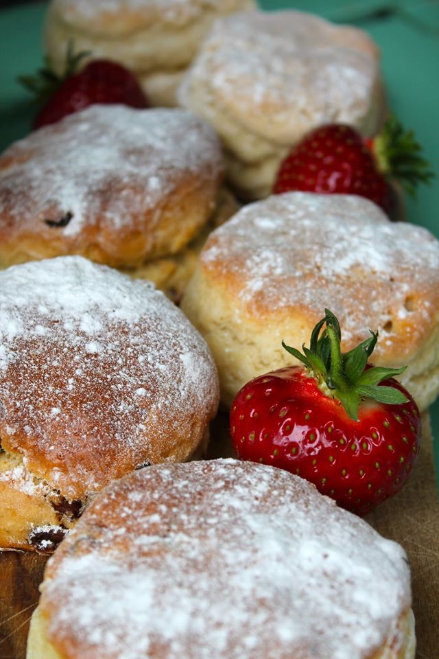 Scones and strawberries